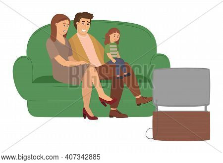 Happy Family Watching Television Sitting On The Couch At Home, Cartoon Characters On White Backgroun