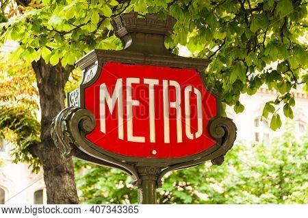 PARIS, FRANCE - CIRCA JUNE 2012: Vintage Parisian metro sign.