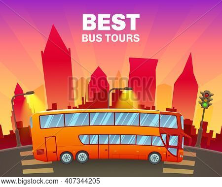 Colorful Travel Poster With Double Decker Sightseeing Bus On Cityscape Background Vector Illustratio