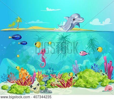 Cartoon Sea Life Template With Dolphin Seahorse Fishes Shells Marine Plants On Tropical Beach Landsc