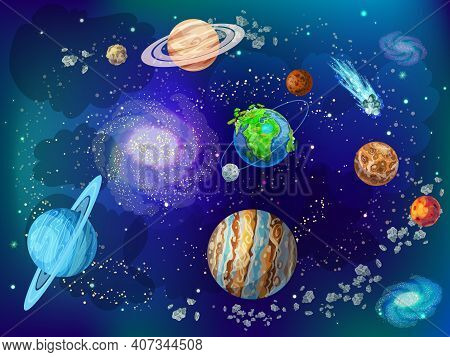 Cartoon Scientific Space Background With Planets Of Solar System Moon Comets Nebulas Meteors Asteroi