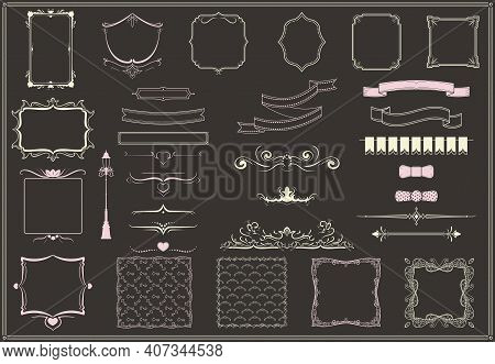 Vintage Empty Decorative Elements Collection With Borders Bow Ties Ornamental Swirls Ribbons Ornate