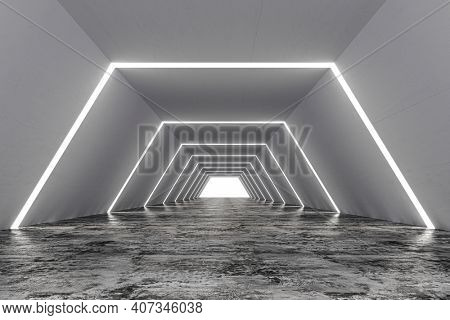 3d tunnel construction with neon lights