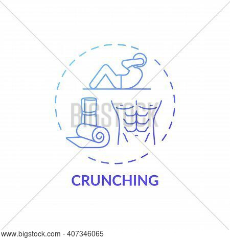 Crunching Concept Icon. At-home Workout Session Idea Thin Line Illustration. Strengthening Core. Bui