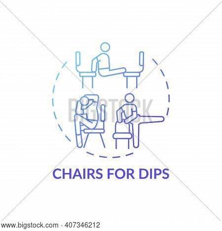 Chairs For Dips Concept Icon. Gym Exercise Alternative Idea Thin Line Illustration. Working Triceps