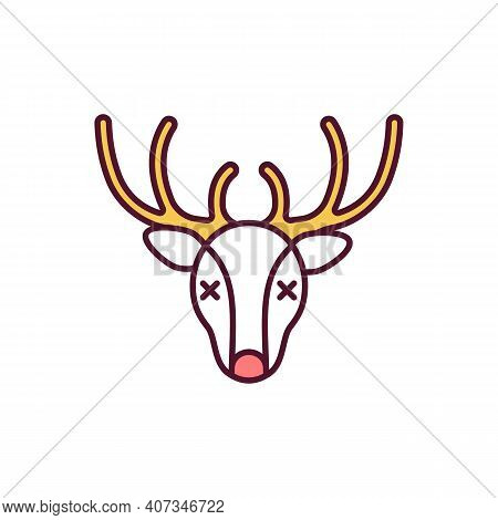 Hunting Trophy Rgb Color Icon. Dead Reindeer. Deer Head For Wall. Poaching, Nature Damage. Shot Doe.