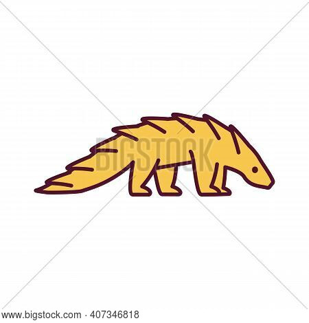 Komodo Dragon Rgb Color Icon. Giant Lizard. Large Lizard. Wildlife Conservation. Prevent Animal Abus