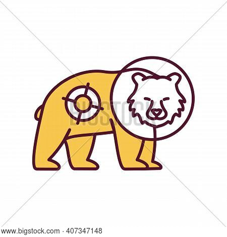 Shine Wild Animal With Spotlight Rgb Color Icon. Harming Mammal With Light Beam. Disturbing Bear At