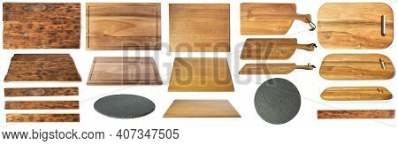 Set Of Different Cutting Wooden Boards Isolated On White Background. Collection Of Boards Top And Si