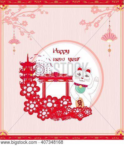 Mid-autumn Festival For Chinese New Year- Card With Maneki Neko Cat Wishing Good Luck , Vector Illus