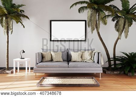 Canceled Vacation And Stay At Home Concept; Elegant Living Room Interior With Vintage Sofa Between P