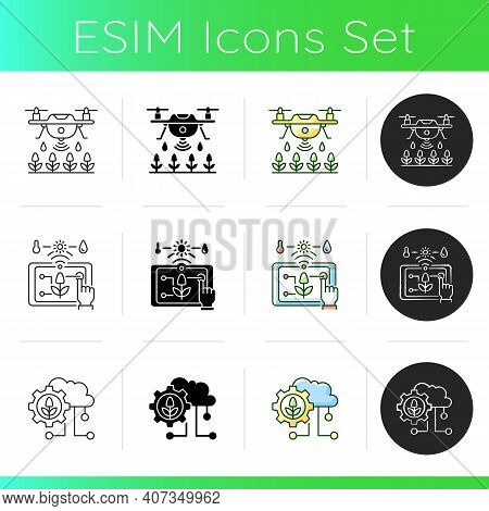 Smart Agriculture Icons Set. Robotics In Farm. Digital Greenhouse. Innovation Technology. Agronomy E