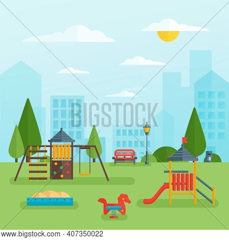 Childrens Playground At Park With Swing Slide And Sandbox On Green Grass Cityscape In Background Vec