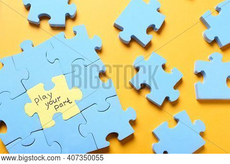 Jigsaw Puzzle With Phrase Play Your Part On Yellow Background, Flat Lay. Social Responsibility Conce