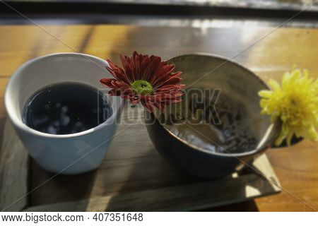 Latte Coffee Art Cup In The Garden, Stock Photo