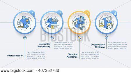 Industry 4.0 Principles Vector Infographic Template. Interconnection, Tech Assist Presentation Desig