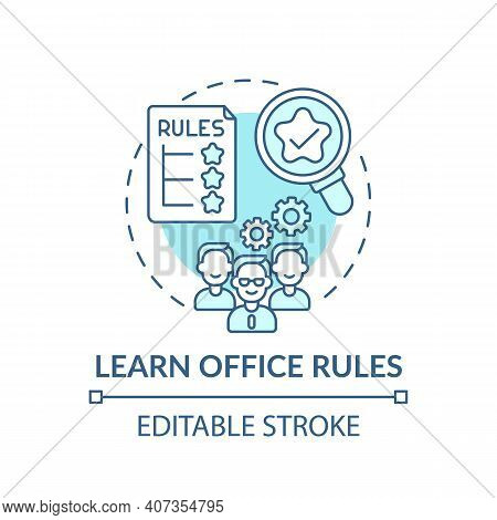Official Rules Of Workplace Concept Icon. Newbie Adaptation Tips. Etiquette Rules Of Company Idea Th