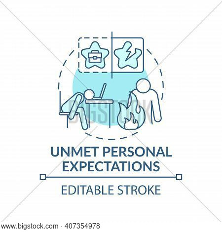 Emotional Burnout Concept Icon. Stress Idea Thin Line Illustration. Unmet Personal Expectations. Wea