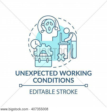 Emotional Burden Concept Icon. Unexpected Working Conditions Idea Thin Line Illustration. Work Hate