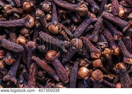 Cloves Spice. A Mixture Of Different Spices Close Up. Textures Of Colorful Spices And Condiments.col