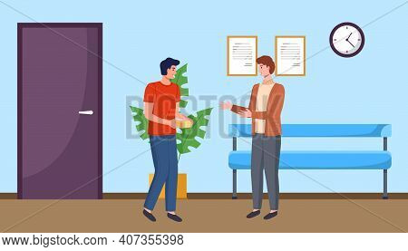 Two Men Colleagues Chatting During Break Standing In A Hallway In Office. Young Male Characters Are