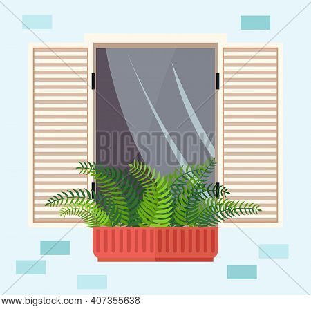 Evergreen Plant In Pot On The Windowsill. Large Window With Curtains And Open Shutters Vector Illust