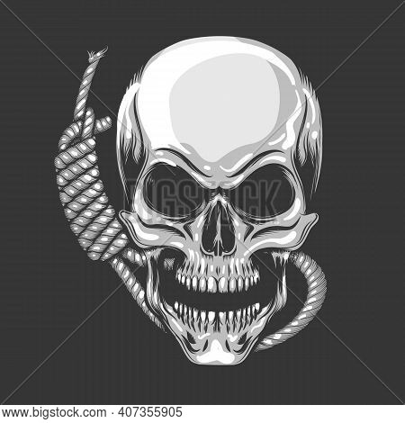 Skull And Noose Rope. End Or Execution Theme Shirt Design Template. Vector Illustration.