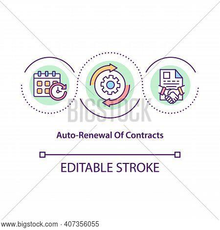 Contracts Auto-renewal Concept Icon. Contractual Period Idea Thin Line Illustration. Automatic Renew