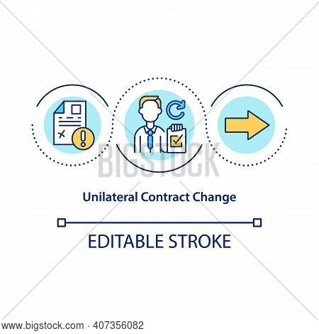 Unilateral Contract Change Concept Icon. Modifications To Contract By One Side Idea Thin Line Illust