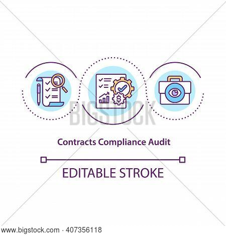 Contract Compliance Audit Concept Icon. Contracts And Terms Review Idea Thin Line Illustration. Ensu