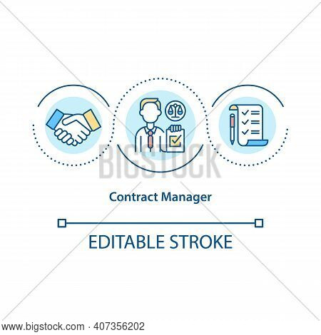Contract Manager Concept Icon. Focusing On Contracting Process Idea Thin Line Illustration. Business