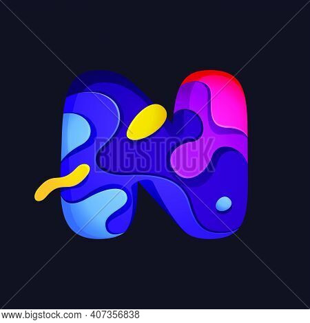 Paper Cut Letter N Multicolor Logo. Origami Carving Style Icon Perfect For Science Labels, Software