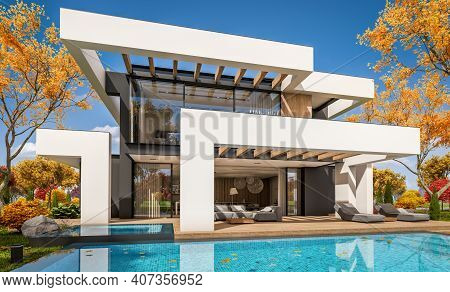 3D Rendering Of Modern House In Luxurious Style In Autumn Day