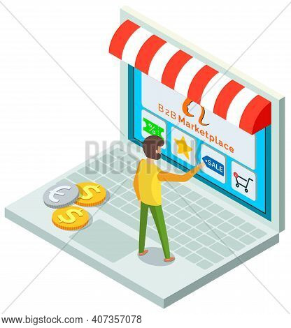 Online Store Concept. Male Buyer Selects A Product On A Store Website On A Laptop With Application.