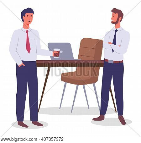 Office Workers. Colleagues Communicating. Executive Guy Wearing Office Suit Talking With Man Holding