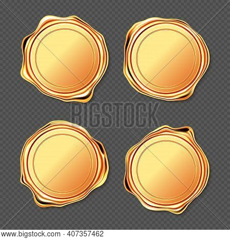 Golden Wax Seal Stamp Approval Sealing. Quality Guarantee Blank Retro Postal Gold Round Labels, Roya