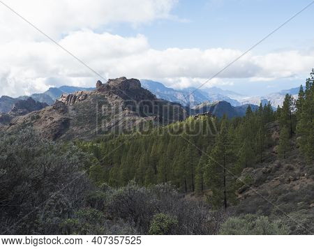 Scenic View Of Amazing Landscape At Roque Nublo Park In Inland Central Mountains From Famoust Gran C