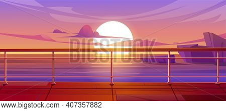 Cruise Liner Deck Or Quay On Dusk Seascape View, Empty Ship With Baluster And Wooden Floor. Sunset S
