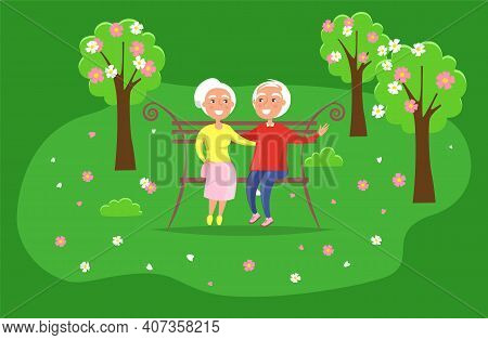 Couple Spend Time In The Park Sitting On A Bench. Romance Of Elderly People On A Date. Characters In