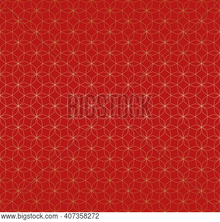 Abstract Geometric Seamless Pattern In Asian Style. Thin Golden Lines Texture, Elegant Floral Lattic