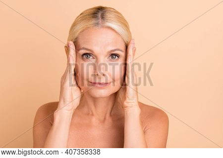 Photo Of Beauty Uplift Concept Aged Lady Naked Shoulders Touch Eye Line Uplift Tightening Isolated B