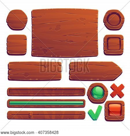 Wooden Game Buttons, Cartoon Game Interface Of Wood Texture, Menu Boards, Ui Or Gui Design Elements.