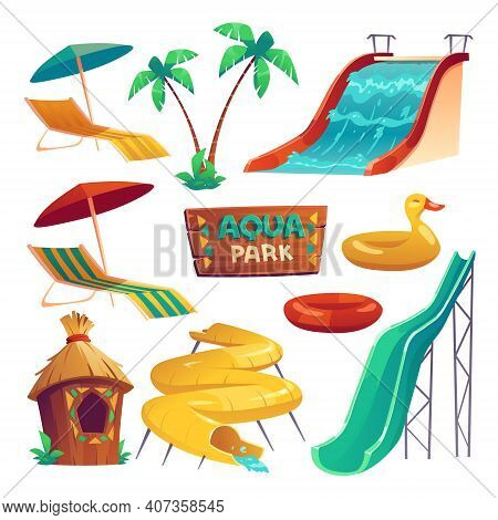 Aqua Park With Water Slides, Inflatable Rings, Umbrellas And Lounger. Vector Cartoon Set Of Resort A