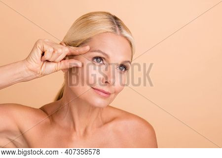 Close Up Photo Of Natural Beauty Aged Model Lady Touch Eyebrow Line Fingers Look Mirror Isolated Bei