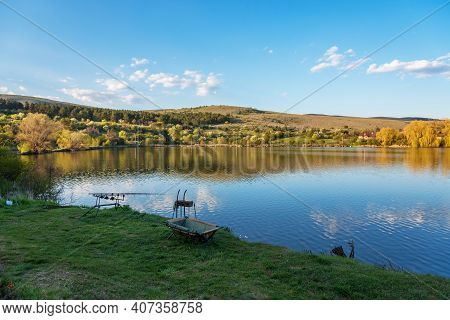 Fishing Adventures, Carp Fishing. Is Fishing With Carpfishing Technique. Camping On The Shore Of The