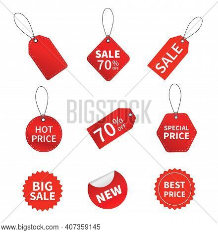 Set Of Sale Tags. Red Ribbon Price And Discount Labels. Red Starburst Stickers. Vector Illustration