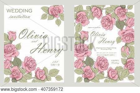 Wedding Invitation Frame Set Flowers,roses, Isolated On White. Wedding Ornament Concept. Floral Post
