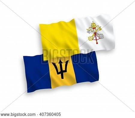 National Fabric Wave Flags Of Vatican And Barbados Isolated On White Background. 1 To 2 Proportion.