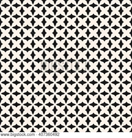 Black And White Geometric Seamless Pattern With Small Curved Shapes, Diamonds, Grid, Mesh, Repeat Ti