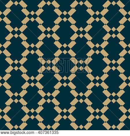 Vector Golden Seamless Pattern With Diamond Grid, Net, Mesh, Lattice, Rhombuses. Abstract Geometric